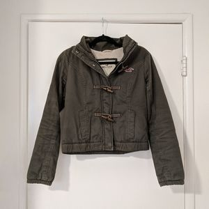 Army Green Sherpa-Lined Hollister Jacket